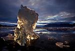 A chunk of an iceberg glows with sunlight coming through it, Wrangell-St. Elias Wilderness, Alaska