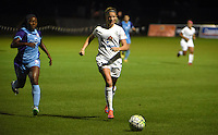 Kansas City, MO - Saturday May 28, 2016: FC Kansas City defender Katie Bowen (21) moves the ball against Orlando Pride forward Jamia Fields (4) during a regular season National Women's Soccer League (NWSL) match at Swope Soccer Village.  Kansas City won 2-0.