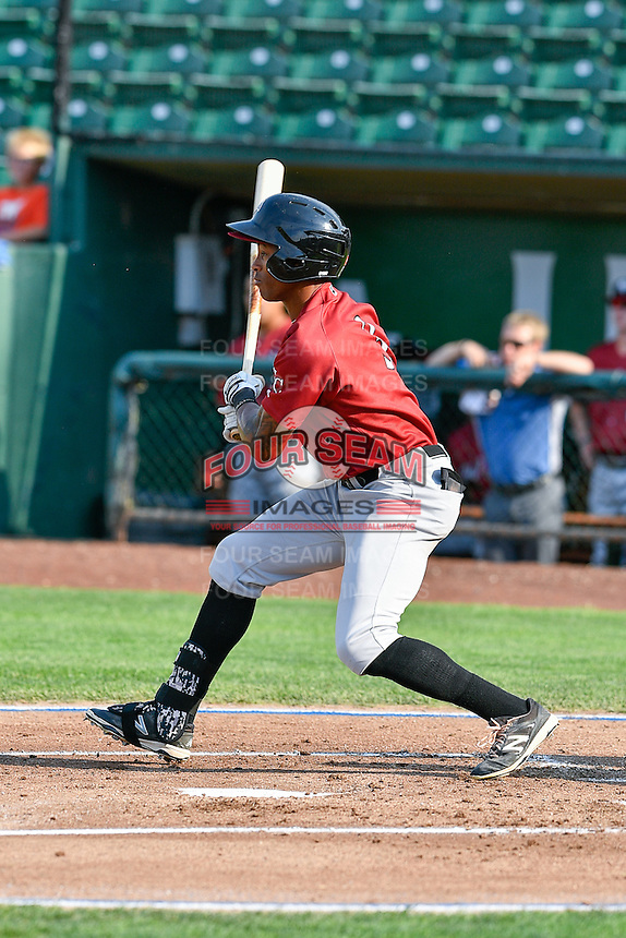 Nick Heath (3) of the Idaho Falls Chukars  follows through on his swing against the Ogden Raptors during the Pacific Coast League game at Smith's Ballpark on August 29, 2016 in Salt Lake City, Utah. The Chukars defeated the Raptors 3-0. (Stephen Smith/Four Seam Images)