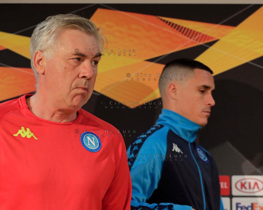 Press Conference Napoli at eve of Europe League quarter final 2 leg<br /> Carlo Ancelotti coach of Napoli  and Jose Callejon of Napoli