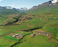 RARIK and Landsvirkjun á Akureyri séð til suðvesturs.  Neðri-Glerá og Glerá í bakgrunni / Rarik at Akureyri viewing south. Nedri-Glera and Glera in background