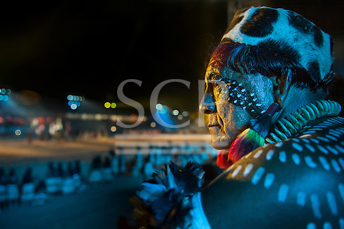 Jakalo Kuikuro watches the opening ceremony at the International Indigenous Games in Brazil. 23rd October 2015