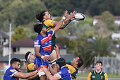 Kalum Adams claims lineout ball ahead of Savelio Popati. SCounties Manukau Premier Counties Power Game of the Week Club Rugby Round 4 game between Pukekohe and Ardmore Marist, played at Colin Lawrie Fields Pukekohe on Friday March 30th 2018.<br /> Ardmore Marist won the game 27 - 21 after leading 13 - 11 at halftime.<br /> Pukekohe Mitre 10 Mega 21 -Trent White, Samu Pailegutu tries, Sione Fifita conversion, Sione Fifita 2, Vilitati Sabani penalties. Ardmore Marist South Auckland Motors 27 - Katetistoti Nginingini, Karl Ropati, Alefosio Tapili tries, Latiume Fosita 3 conversions, Latiume Fosita 2 penalties. <br /> Photo by Richard Spranger.