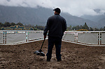 ARCADIA, CA: Santa Anita staff cleans racetrack while patrons are not allowed to enter the races due to Coronavirus at Santa Anita Park in Arcadia, California on March 14, 2020.
