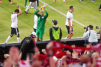 The USA's goalkeeper Tim Howard salutes the USA fans after  the USA Men's National Team's World Cup Qualifier against Panama at Century Link Field in Seattle, WA on June 11, 2013.