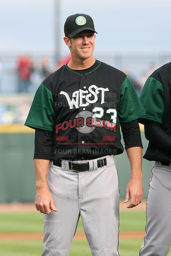 June 17th 2008:  Scott Mitchinson of the Kane County Cougars, Class-A affiliate of the Oakland Athletics, during the Midwest League All-Star Game at Dow Diamond in Midland, MI.  Photo by:  Mike Janes/Four Seam Images