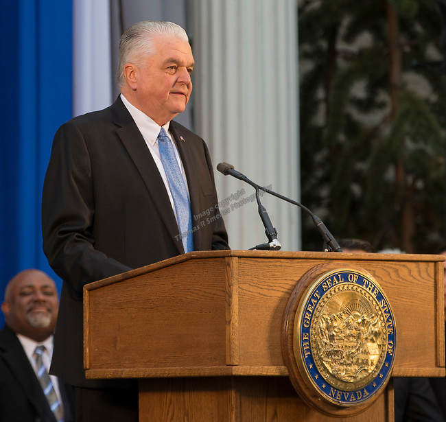 Governor-elect Steve Sisolak delivers his inaugural address on the steps of the Nevada State Capitol in Carson City, Nev., Monday, Jan. 7, 2019. (AP Photo/Tom R. Smedes)