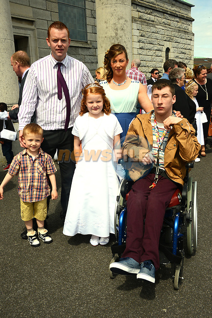 Lourdes Communion – Aideen Boyce with her parents David and Nicola and brothers Conal and Craig.