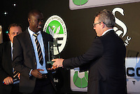 Pictured: Martin Morgan (R) presents an award to Modou Barrow Wednesday 11 May 2016<br /> Re: Awards Dinner 2016, at the Liberty Stadium, south Wales, UK.