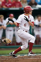 Oklahoma's Eric Ross in Game 3 of the NCAA Division One Men's College World Series on Sunday June 20th, 2010 at Johnny Rosenblatt Stadium in Omaha, Nebraska.  (Photo by Andrew Woolley / Four Seam Images)