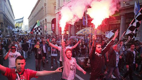 05.05.2014. Turin, Italy. Serie A Title game Juventus versus Atalanta.  Celebration for Juventus Victory of Italian championship.