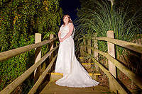 Bride on the steps at Woburn Safari Park.