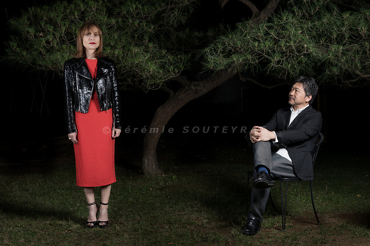 Tokyo, June 23 2017 -  Portrait of both French actress Isabelle Huppert & Japanese film director Hirokazu Kore-Eda in the garden of French Institute in Tokyo, before a conference held during the French Film festival 2017.