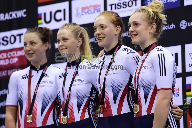 Picture by Alex Broadway/SWpix.com - 04/11/2016 - Cycling - 2016 UCI Track Cycling World Cup, Day 1 - Sir Chris Hoy Velodrome, Glasgow, United Kingdom - Women's Team Pursuit Finals - Podium - Emily Kay, Eleanor Dickinson, Manon Lloyd and Emily Nelson of Great Britain win Gold.