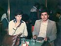 Syria 1980 .Hatige Yachar with Mehmet Uzun, Kurdish writer,  in a cafe  .Syrie 1980 .Hatige Yachar avec Mehmet Uzun, écrivain kurde,  dans un cafe