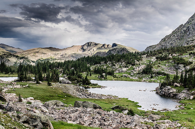 Haynach Lakes, late afternoon in summer,  Rocky Mountain National Park, Colorado, USA