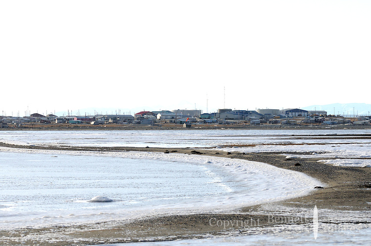 Kaktovik, AK as viewed from one of the barrier islands. Every fall, polar bears gather near the community of Kaktovik, Alaska, on the northern edge of ANWR, waiting for the Arctic Ocean to freeze. The bears have become a symbol of global warming.