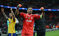 Gianluigi Buffon of Juventus celebrates at the end of the game<br /> <br /> Photographer Rob Newell/CameraSport<br /> <br /> UEFA Champions League Round of 16 Second Leg - Tottenham Hotspur v Juventus - Wednesday 7th March 2018 - Wembley Stadium - London <br />  <br /> World Copyright &copy; 2017 CameraSport. All rights reserved. 43 Linden Ave. Countesthorpe. Leicester. England. LE8 5PG - Tel: +44 (0) 116 277 4147 - admin@camerasport.com - www.camerasport.com