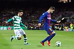 UEFA Champions League 2017/2018 - Matchday 6.<br /> FC Barcelona vs Sporting Clube de Portugal: 2-0.<br /> Bruno Fernandes vs Gerard Pique.