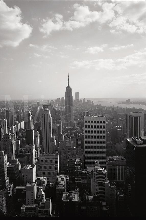 Aerial skyline of New York City on a hazy day. Manhattan, New York..
