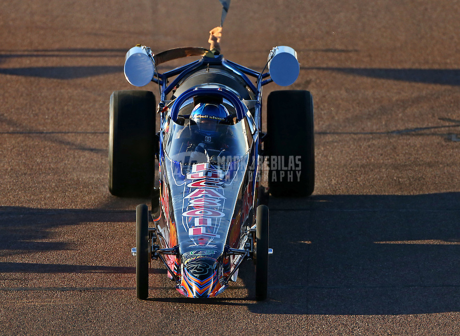 Feb 26, 2016; Chandler, AZ, USA; NHRA jet dragster during qualifying for the Carquest Nationals at Wild Horse Pass Motorsports Park. Mandatory Credit: Mark J. Rebilas-