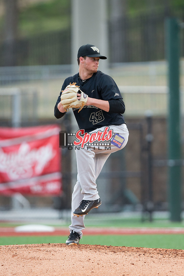 Wake Forest Demon Deacons relief pitcher Griffin Roberts (43) in action against the Charlotte 49ers at Hayes Stadium on March 16, 2016 in Charlotte, North Carolina.  The 49ers defeated the Demon Deacons 7-6.  (Brian Westerholt/Sports On Film)