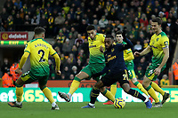 1st December 2019; Carrow Road, Norwich, Norfolk, England, English Premier League Football, Norwich versus Arsenal; Alexandre Lacazette of Arsenal is closed down by the Norwich City players - Strictly Editorial Use Only. No use with unauthorized audio, video, data, fixture lists, club/league logos or 'live' services. Online in-match use limited to 120 images, no video emulation. No use in betting, games or single club/league/player publications