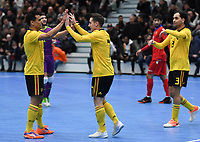 20200129 – Herentals , BELGIUM : Belgian players pictured celebrating after scoring with goalscorer Steven Dillien (middle) during a futsal indoor soccer game between Armenia and  the Belgian Futsal Devils of Belgium on the first matchday in group B of the UEFA Futsal Euro 2022 Qualifying or preliminary round , Wednesday 29 th January 2020 at the Sport Vlaanderen sports hall in Herentals , Belgium . PHOTO SPORTPIX.BE | DAVID CATRY