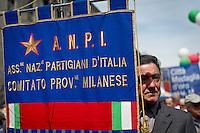 An veteran with ANPI flag during 25 April demonstration italian liberation of Nazi Fascism World War II thanks by partigiani, on April 25, 2014. Photo: Adamo Di Loreto/BuenaVista*photo