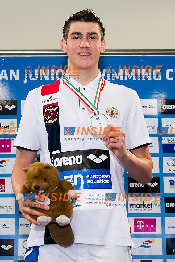 Kolesnikov Kliment RUS<br /> 50 Backstroke Men Final Gold Medal New Junior World Record<br /> LEN 43rd Arena European Junior Swimming Championships<br /> Hodmezovasarhely, Hungary <br /> Day04 09-07-2016<br /> Photo Andrea Masini/Deepbluemedia/Insidefoto
