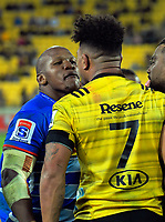 Stormers hooker Bongi Mbonambi and Hurricanes flanker Ardie Savea have words after the final whistle of the Super Rugby match between the Hurricanes and Stormers at Westpac Stadium in Wellington, New Zealand on Saturday, 23 March 2019. Photo: Dave Lintott / lintottphoto.co.nz