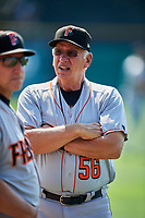 Fresno Grizzlies pitching coach Dyar Miller (56) before the game against the Salt Lake Bees at Smith's Ballpark on September 4, 2017 in Salt Lake City, Utah. Fresno defeated Salt Lake 9-7. (Stephen Smith/Four Seam Images)