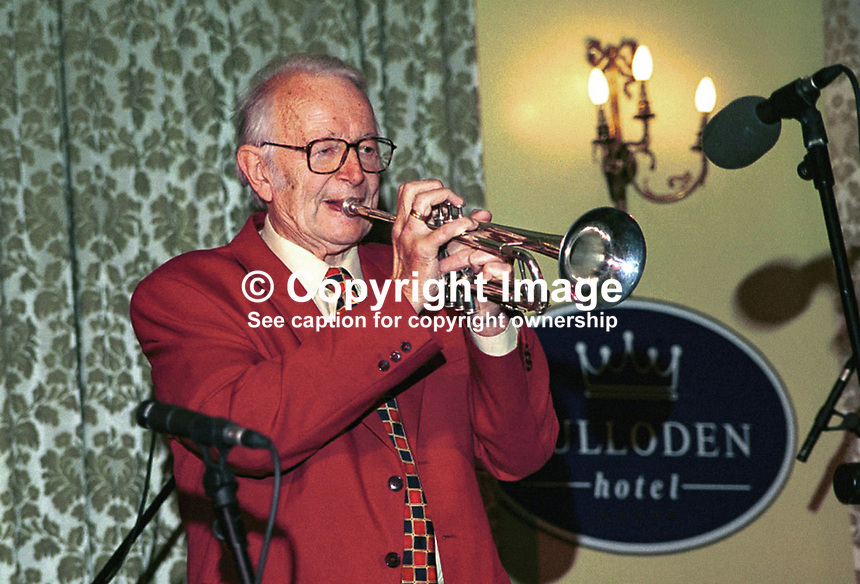 British jazz personality Humphrey Lyttelton playing at the Culloden Hotel during the 1999 Holywood International Jazz Festival, Holywood, Co Down, N. Ireland. Ref: 199906009..Copyright Image from Victor Patterson, 54 Dorchester Park, Belfast, UK, BT9 6RJ..Tel: +44 28 9066 1296.Mob: +44 7802 353836.Voicemail +44 20 8816 7153.Skype: victorpattersonbelfast.Email: victorpatterson@mac.com.Email: victorpatterson@ireland.com (back-up)..IMPORTANT: If you wish to use this image or any other of my images please go to www.victorpatterson.com and click on the Terms & Conditions. Then contact me by email or phone with the reference number(s) of the image(s) concerned.