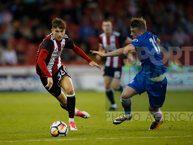 David Brooks of Sheffield Utd and Josh Tyman of Stoke City during the pre season friendly at Bramall Lane Stadium, Sheffield. Picture date: July 25th 2017. Picture credit should read: Simon Bellis/Sportimage