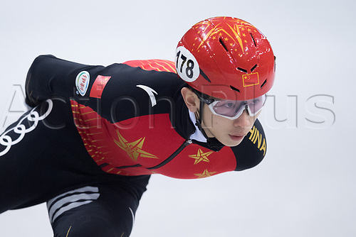 01 February 2019, Saxony, Dresden: Shorttrack: World Cup, quarter finals, 1500 meter men in the EnergieVerbund Arena. Yifan Liu from China runs in a curve.