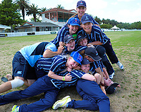 The St Hilda's team pile up after the New Zealand Secondary Schools 1st XI girls' cricket national finals match between Tawa College and St Hilda's Collegiate at Fitzherbert Park in Palmerston North, New Zealand on Sunday, 3 December 2017. Photo: Dave Lintott / lintottphoto.co.nz