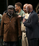 """Charles Fuller and David Alan Grier with Kenny Leon During the Broadway Opening Night Curtain Call Bows for The Roundabout Theatre Company's """"A Soldier's Play""""  at the American Airlines Theatre on January 21, 2020 in New York City."""