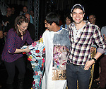 Kara Lindsay, Aaron J. Albano & Jeremy Jordan.attending the Actors' Equity Broadway Opening Night Gypsy Robe Ceremony for Aaron J. Albano in.'Newsies - The Musical' at the Nederlander Theatre in NewYork City on 3/29/2012