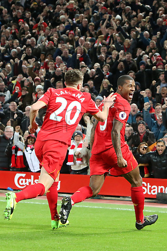31.12.2016. Anfield, Liverpool, England. English Premier League football. Liverpool versus Manchester City. Georginio Wijnaldum of Liverpool and Adam Lallana  of Liverpool celebrate Liverpool's opening goal.