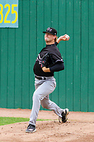 Quad Cities River Bandits pitcher Tyler Ivey (22) warms up in the bullpen prior to a Midwest League game against the Beloit Snappers on May 20, 2018 at Pohlman Field in Beloit, Wisconsin. Beloit defeated Quad Cities 3-2. (Brad Krause/Four Seam Images)