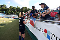 Cary, North Carolina  - Saturday August 19, 2017: Samantha Mewis signs autographs after a regular season National Women's Soccer League (NWSL) match between the North Carolina Courage and the Washington Spirit at Sahlen's Stadium at WakeMed Soccer Park. North Carolina won the game 2-0.