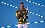26 Jan 2009, Melbourne, Australia ---  Fernando Verdasco of Spain celebrates after winning a match against Andy Murray during the Australian Open Tennis Grand Slam January 26, 2009 in Melbourne. Photo by © Victor Fraile / The Power of Sport Images