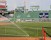 """Hockey East at Fenway"" as well as the initials for the four participating schools - University of New Hampshire, Northeastern University, Boston University and Boston College - was displayed on the scoreboard on the Green Monster. A press conference hosted by the Hockey East Association, the Boston Red Sox and Fenway Sports Group was held on Thursday, August 20, 2009, at Fenway Park in Boston, MA, to announce that there would be a Hockey East college hockey doubleheader on Friday, January 8, 2010, held on the ice that will be used for the January 1, 2010 NHL Winter Classic.  The afternoon (4:00 pm EST) match will be between the Northeastern University Huskies (home team) and University of New Hampshire Wildcats women's teams while the evening (7:30 pm EST) match will be between the Boston College Eagles (home team) and the Boston University Terriers men's teams."
