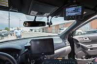 NWA Democrat-Gazette/J.T. WAMPLER Springdale police Lt. Jeff Taylor shows a new dash camera system Tuesday May 14, 2019 installed in a cruiser. There are currently 34 cars with the new system and the city council is looking to add more than 50 more.