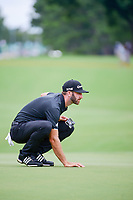 Dustin Johnson (USA) lines up his putt on 10 during Sunday's final round of the PGA Championship at the Quail Hollow Club in Charlotte, North Carolina. 8/13/2017.<br /> Picture: Golffile | Ken Murray<br /> <br /> <br /> All photo usage must carry mandatory copyright credit (&copy; Golffile | Ken Murray)