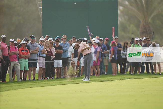 Tommy Fleetwood (ENG) in action during the second round of the Omega Dubai Desert Classic, Emirates Golf Club, Dubai, UAE. 25/01/2019<br /> Picture: Golffile | Phil Inglis<br /> <br /> <br /> All photo usage must carry mandatory copyright credit (&copy; Golffile | Phil Inglis)