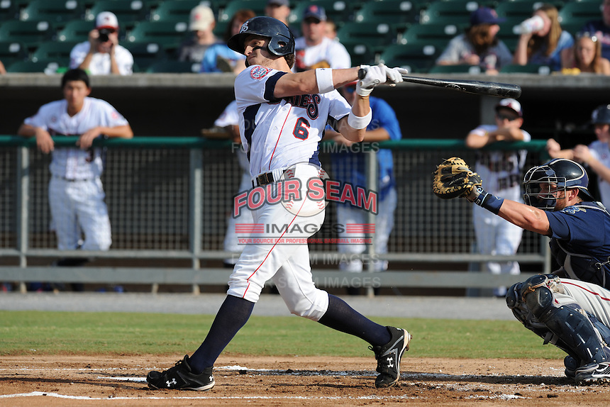 The Tennessee Smokies third baseman Josh Vitters #6 swings at a pitch during game four of the Southern League Championship Series between the Mobile Bay Bears and the Tennessee Smokies at Smokies Park on September 18, 2011 in Kodak, Tennessee.  The BayBears won the Southern League Championship 6-4.  (Tony Farlow/Four Seam Images)
