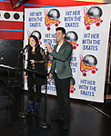 """Diana DeGarmo and Ace Young during the Special Musical Presentation for """"Hit Her WithThe Skates"""" at the Bowlmor Times Square on October 16, 2018 in New York City."""