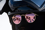 Norway, Svalbard, travel, snowmobile tour in spring, close-up of tourist, reflection of tourist group in sun glasses