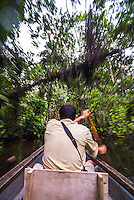 Dugout canoe ride in the Amazon Rainforest, Coca, Ecuador, South America